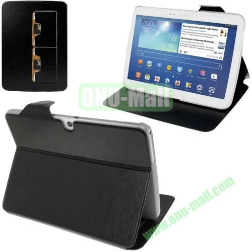 New Arrival Crazy Horse Texture Leather Flip Case for Samsung Galaxy Tab 3 P5200  P5210 With Holder and Wallet & Wake-up Function (Black)