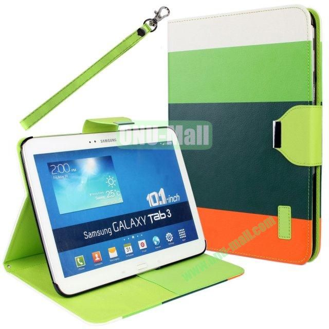 Classical Style 4 Colors Blocking Leather Case for Samsung Galaxy Tab 3 10.1 P5200 with Stand and Card Slots  (White+Green+Dark Green+Orange)