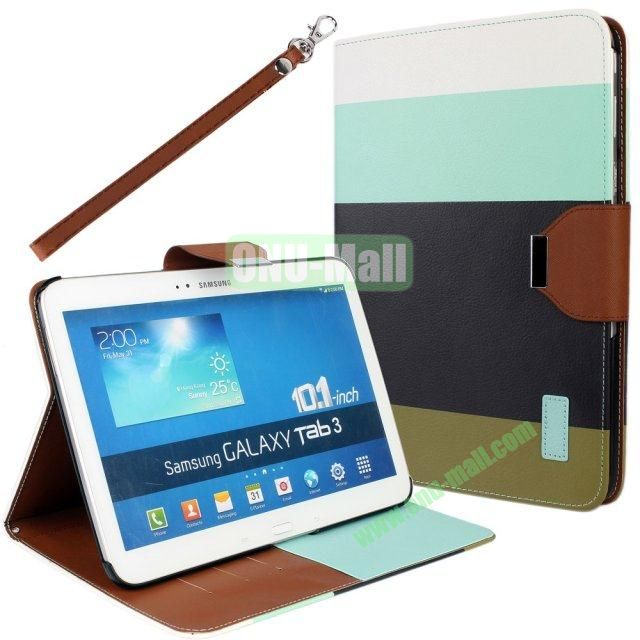Classical Style 4 Colors Blocking Leather Case for Samsung Galaxy Tab 3 10.1 P5200 with Stand and Card Slots  (White+Blue+Black+Brown)
