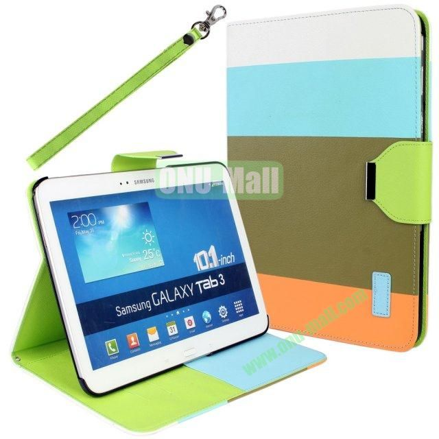 Classical Style 4 Colors Blocking Leather Case for Samsung Galaxy Tab 3 10.1 P5200 with Stand and Card Slots  (White+Blue+Brown+Orange)