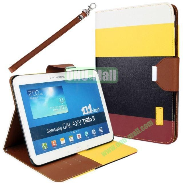 Classical Style 4 Colors Blocking Leather Case for Samsung Galaxy Tab 3 10.1 P5200 with Stand and Card Slots  (White+Yellow+Black+Brown)