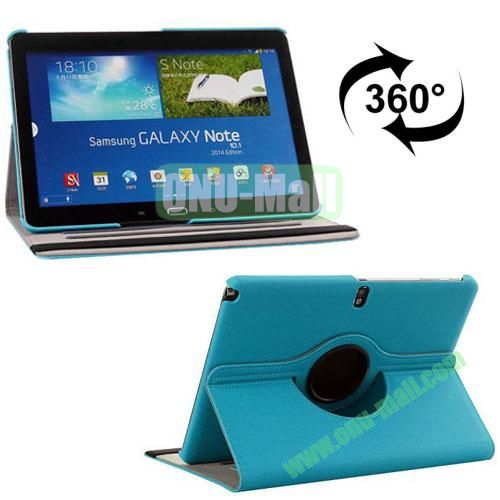 360 Rotating Style Fabric Texture Smart Cover for Samsung Galaxy Note 10.1 P600 with Armband and Stand (Blue)