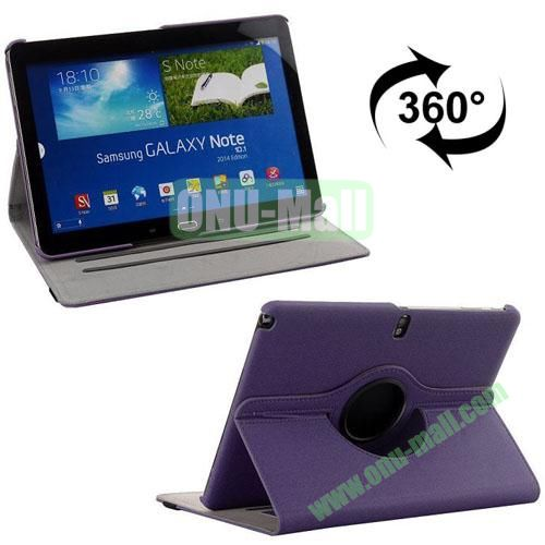 360 Rotating Style Fabric Texture Smart Cover for Samsung Galaxy Note 10.1 P600 with Armband and Stand (Purple)