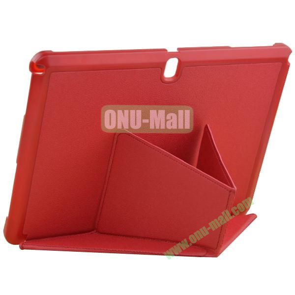 Multi-folding Leather Case with Holder for Samsung Galaxy Note 10.1 2014 Edition (Red)