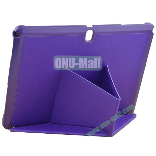 Multi-folding Leather Case with Holder for Samsung Galaxy Note 10.1 2014 Edition (Purple)