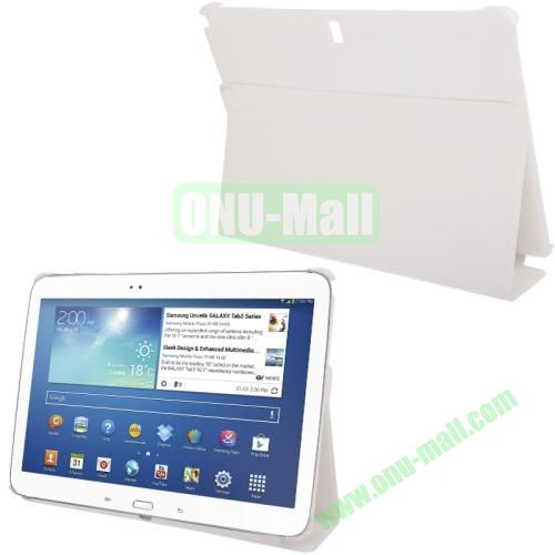 3-folding Litchi Texture PU Leather Case for Samsung Galaxy Note 10.1P600 2014 Edition with Holder (White)