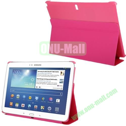 3-folding Litchi Texture PU Leather Case for Samsung Galaxy Note 10.1P600 2014 Edition with Holder (Pink)