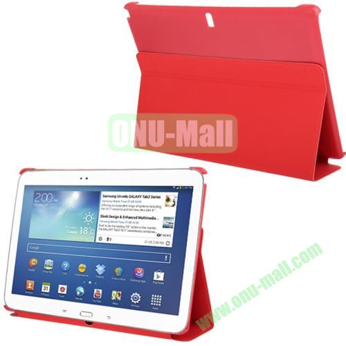 3-folding Litchi Texture PU Leather Case for Samsung Galaxy Note 10.1P600 2014 Edition with Holder (Red)