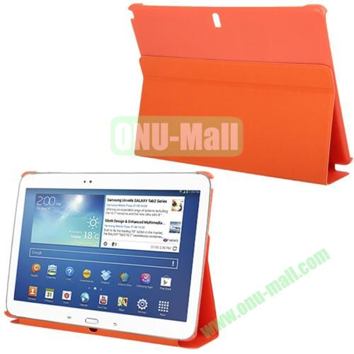3-folding Litchi Texture PU Leather Case for Samsung Galaxy Note 10.1P600 2014 Edition with Holder (Orange)
