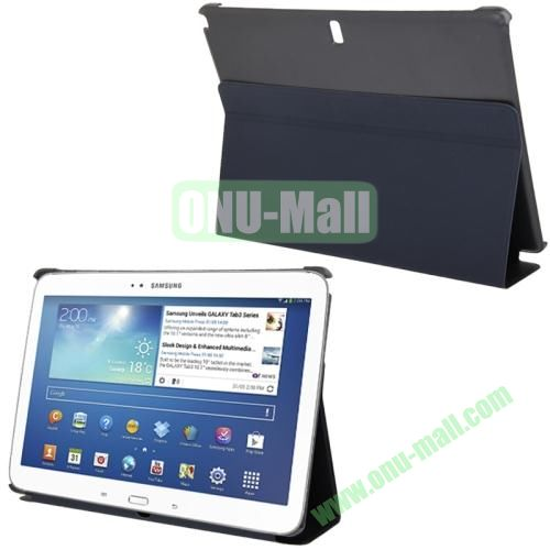 3-folding Litchi Texture PU Leather Case for Samsung Galaxy Note 10.1P600 2014 Edition with Holder (Blue)