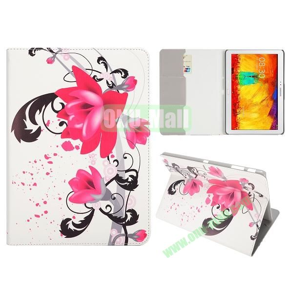 Flip Leather Case for Samsung Galaxy Note 10.1 2014 Edition P600 (Lily Pattern)