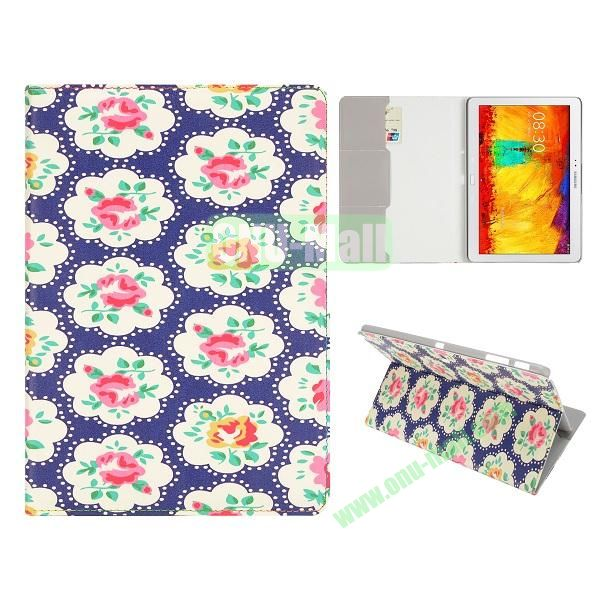 Flip Leather Case for Samsung Galaxy Note 10.1 2014 Edition P600 (Blue Elegant Flowers)