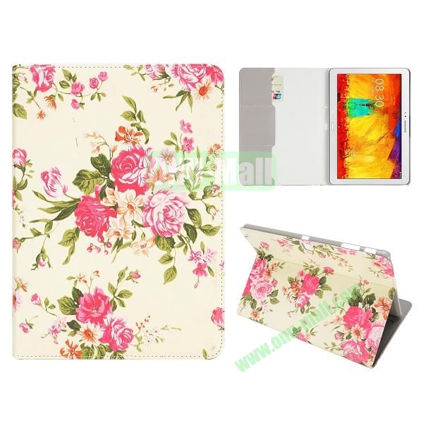 Flip Leather Case for Samsung Galaxy Note 10.1 2014 Edition P600 (Beautiful Red Penoy Pattern)