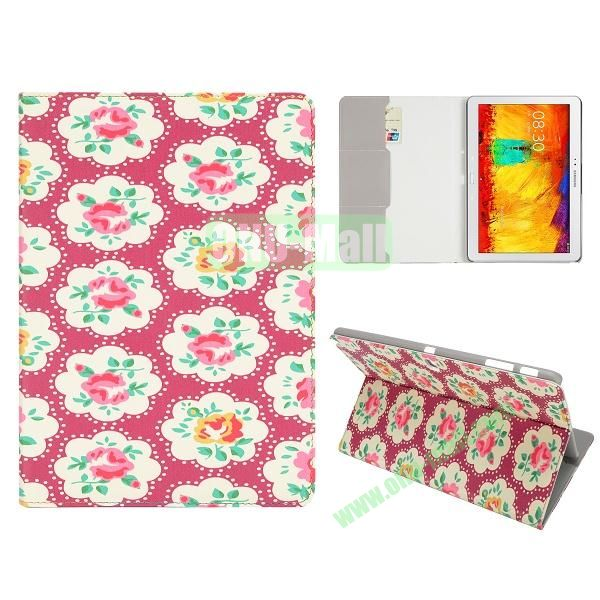 Flip Leather Case for Samsung Galaxy Note 10.1 2014 Edition P600 (Red Flower Pattern)