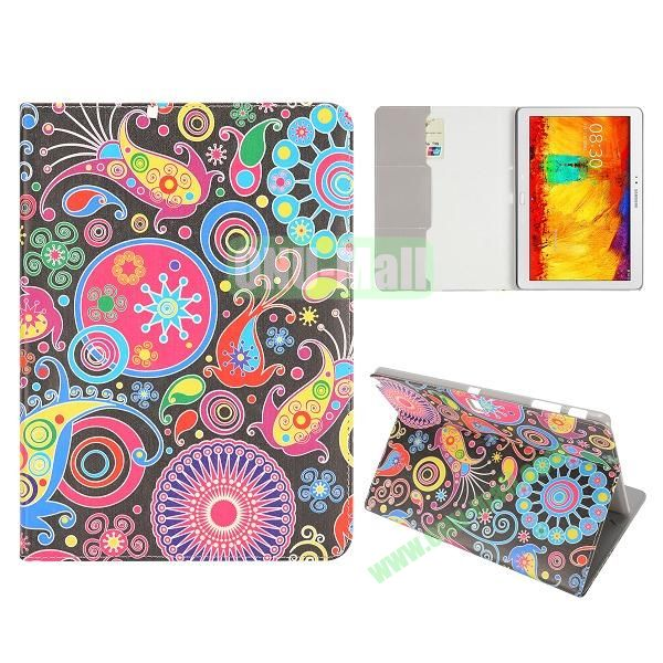 Flip Leather Case for Samsung Galaxy Note 10.1 2014 Edition P600 (Colorized Fish and Flowers Pattern)