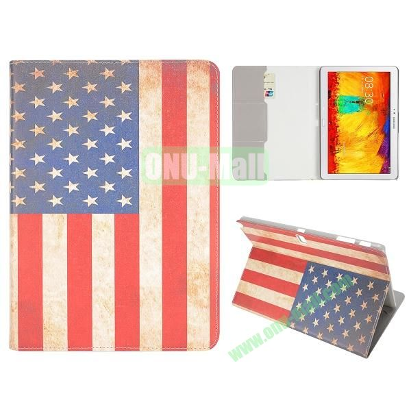 Flip Leather Case for Samsung Galaxy Note 10.1 2014 Edition P600 (Retro USA Flag Pattern)