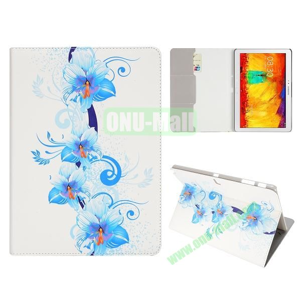 Flip Leather Case for Samsung Galaxy Note 10.1 2014 Edition P600 (Blue Lily Pattern)