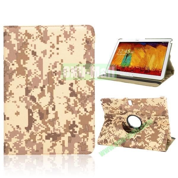 Unique Design Camouflage Pattern 360 Rotating Flip Cloth Texture Case for Samsung Galaxy Note 10.1 2014 Edition P600 (Mosaic)