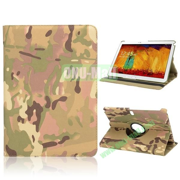 Cool Camouflage Pattern 360 Rotating Flip Cloth Texture Case for Samsung Galaxy Note 10.1 2014 Edition P600 (Yellow)