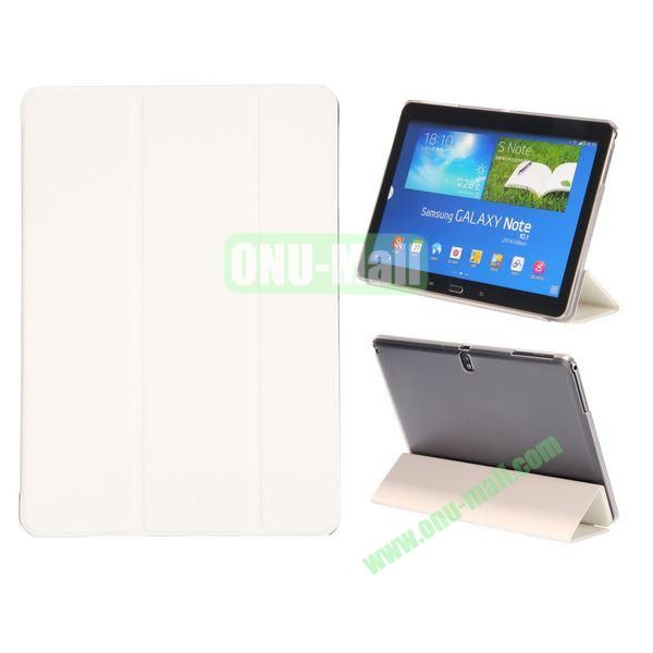 Wood Texture 3 Folding Leather Case + Transparent PC Back Case for Samsung Galaxy Tab Note 10.1 2014 Edition ( White )