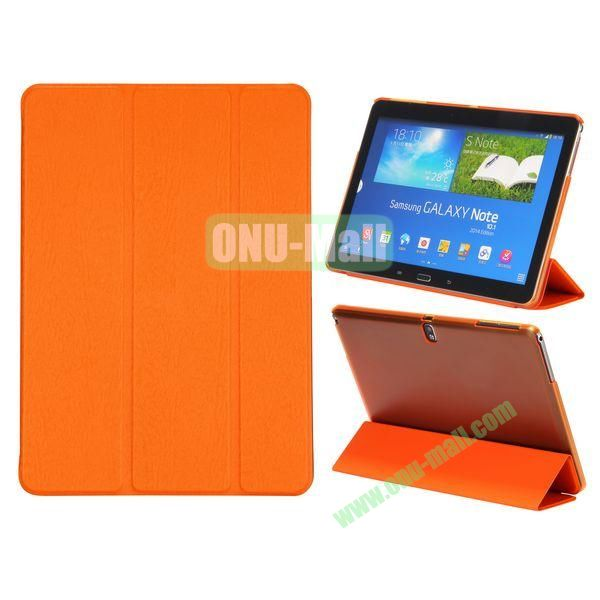 Wood Texture 3 Folding Leather Case + Transparent PC Back Case for Samsung Galaxy Tab Note 10.1 2014 Edition ( Orange )