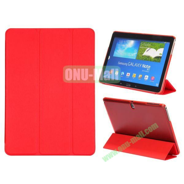 Wood Texture 3 Folding Leather Case + Transparent PC Back Case for Samsung Galaxy Tab Note 10.1 2014 Edition ( Red )