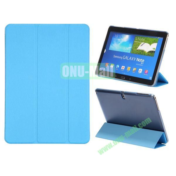 Wood Texture 3 Folding Leather Case + Transparent PC Back Case for Samsung Galaxy Tab Note 10.1 2014 Edition ( Blue )