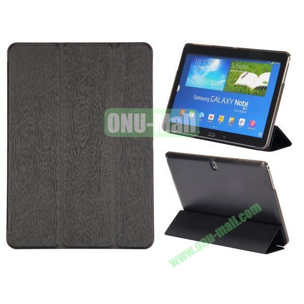 Wood Texture 3 Folding Leather Case + Transparent PC Back Case for Samsung Galaxy Tab Note 10.1 2014 Edition ( Black )
