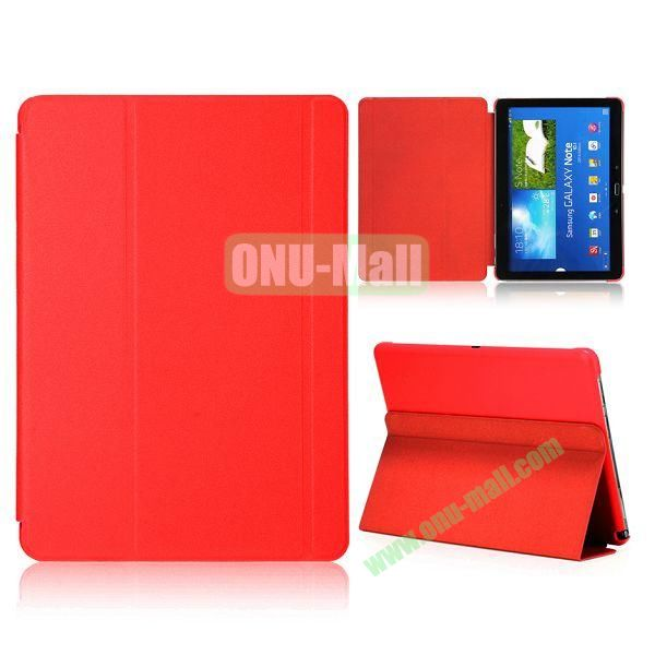 Foldable Flip  PC and Leather Cover for Samsung Galaxy Note 10.1 2014 Edition P600 (Red)