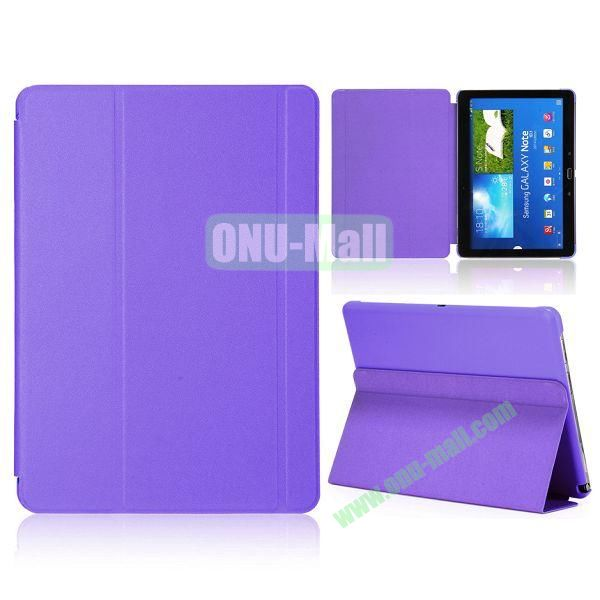 Foldable Flip  PC and Leather Cover for Samsung Galaxy Note 10.1 2014 Edition P600 (Purple)