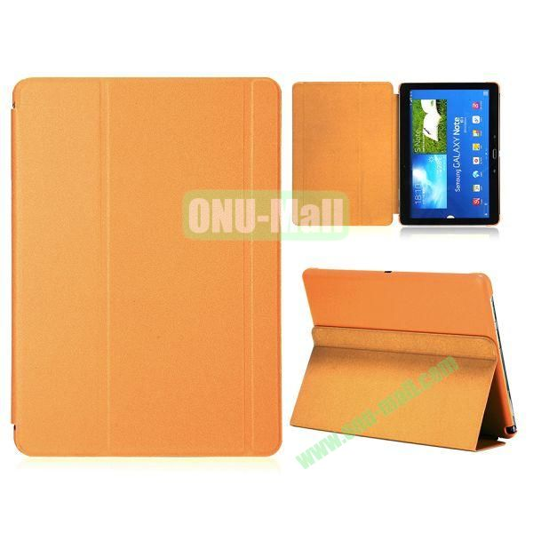 Foldable Flip  PC and Leather Cover for Samsung Galaxy Note 10.1 2014 Edition P600 ( Orange )
