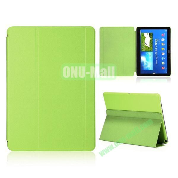 Foldable Flip  PC and Leather Cover for Samsung Galaxy Note 10.1 2014 Edition P600 ( Green )