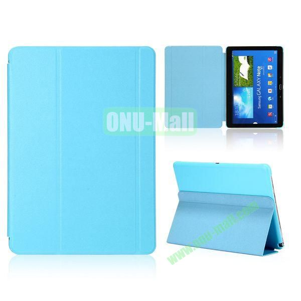 Foldable Flip  PC and Leather Cover for Samsung Galaxy Note 10.1 2014 Edition P600 ( Baby Blue )