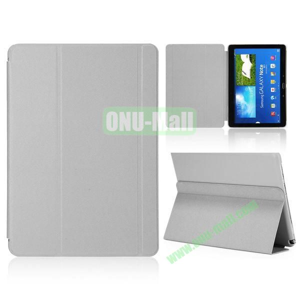 Foldable Flip  PC and Leather Cover for Samsung Galaxy Note 10.1 2014 Edition P600 ( Grey )