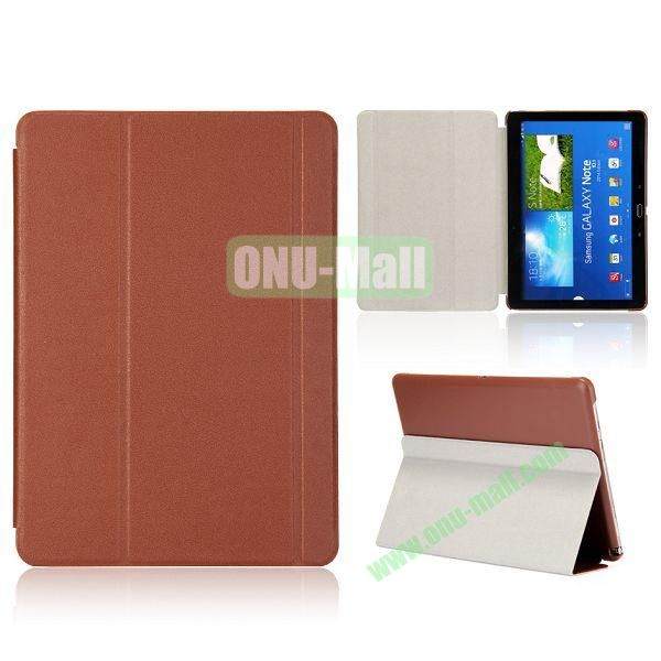 Foldable Flip  PC and Leather Cover for Samsung Galaxy Note 10.1 2014 Edition P600 ( Brown )
