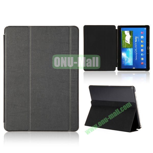 Foldable Flip  PC and Leather Cover for Samsung Galaxy Note 10.1 2014 Edition P600 ( Black )