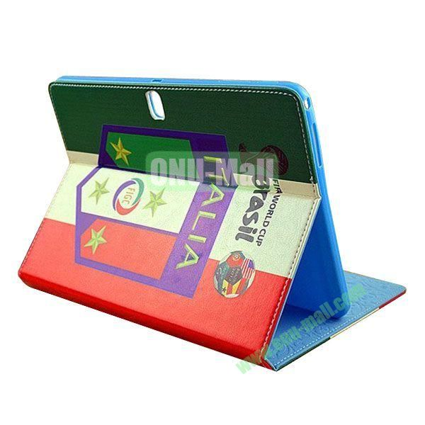 2014 FIFA World Cup Pattern TPU + PU Leather Case for Samsung P600 Galaxy Tab 10.1 Edition (Italia)