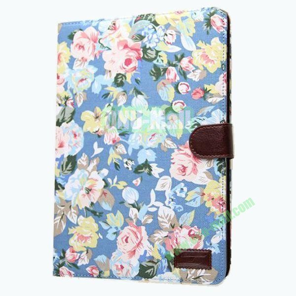 Jeans Texture Leather Smart Cover for Samsung Galaxy Note 10.1 P600 2014 Edition with Belt (Blue Flower)