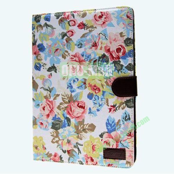 Jeans Texture Leather Smart Cover for Samsung Galaxy Note 10.1 P600 2014 Edition with Belt (Colorful Flower)