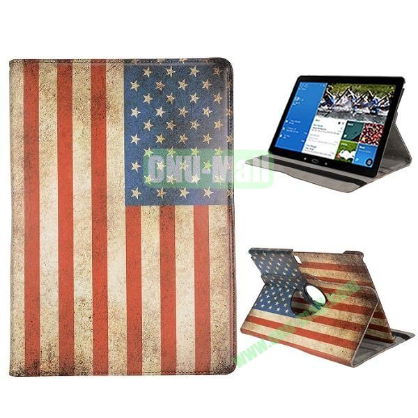 360 Degree Rotation Retro USA Flag Pattern PC + Leather Case with 3 Gears for Samsung Galaxy Note Pro 12.2  P900