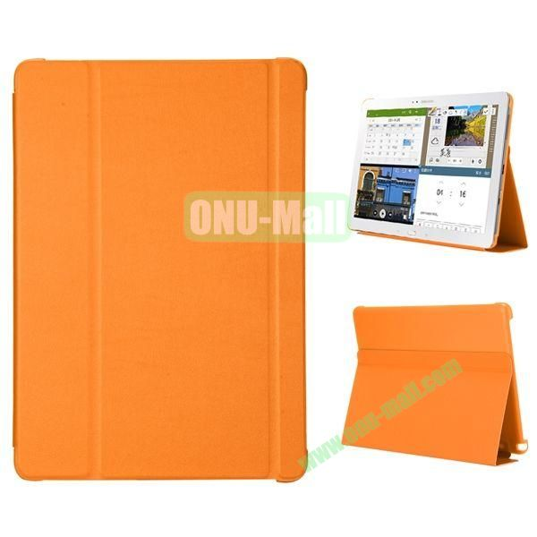 3-folding Flip Stand PC+Leather Case for Samsung Galaxy Note Pro 12.2  P900 (Orange)