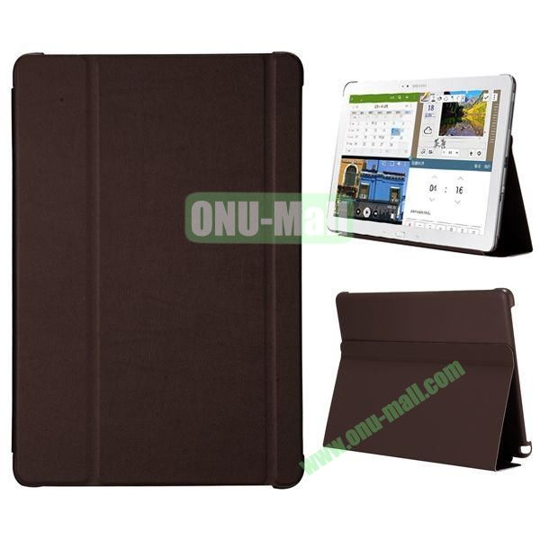 3-folding Flip Stand PC+Leather Case for Samsung Galaxy Note Pro 12.2  P900 (Brown)
