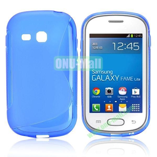 S-Shape TPU Case for Samsung Samsung Galaxy Fame Lite  S6790 (Blue)