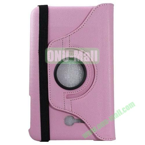 360 Rotating Litchee Texture Leather Smart Cover for Samsung Galaxy Tab 3 Lite T110 with Armband and Stand (Light Pink)