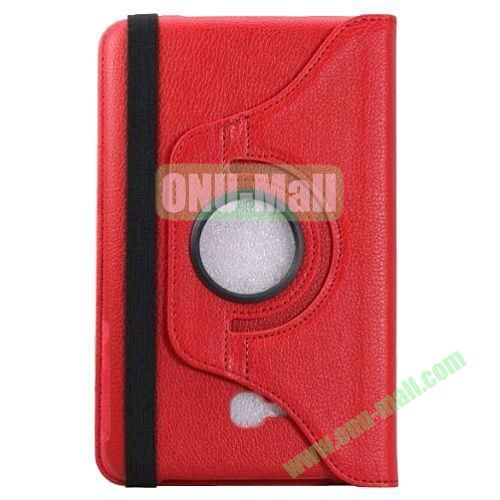 360 Rotating Litchee Texture Leather Smart Cover for Samsung Galaxy Tab 3 Lite T110 with Armband and Stand (Red)