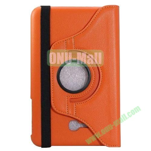 360 Rotating Litchee Texture Leather Smart Cover for Samsung Galaxy Tab 3 Lite T110 with Armband and Stand (Orange)