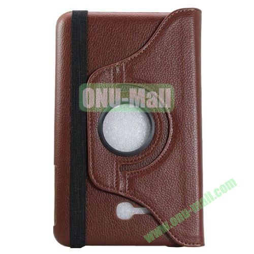 360 Rotating Litchee Texture Leather Smart Cover for Samsung Galaxy Tab 3 Lite T110 with Armband and Stand (Brown)