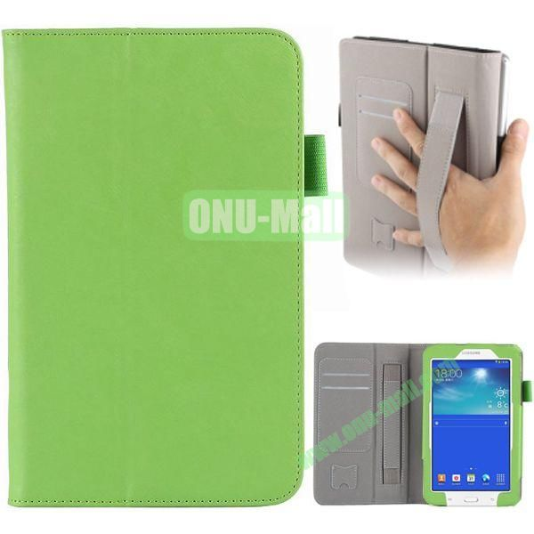 Cowskin Texture Leather Case for Samsung Tab 3 Lite T110 with Card Slots and Holder Pen & Armband (Green)