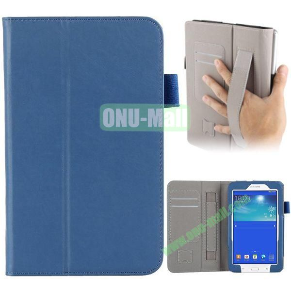 Cowskin Texture Leather Case for Samsung Tab 3 Lite T110 with Card Slots and Holder Pen & Armband (Blue)