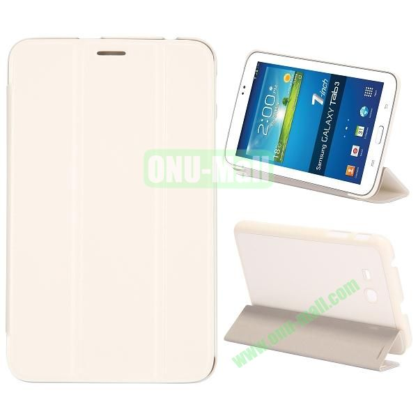 Smooth Texture 3 Folding Stand Leather Case for Samsung Galaxy Tab 3 Lite T110 (White)